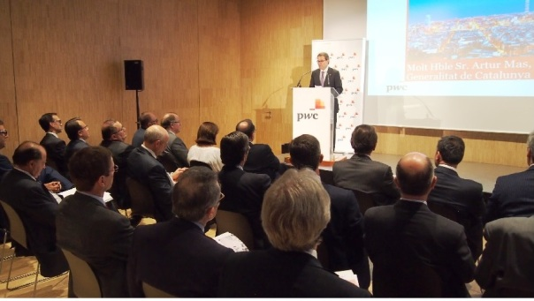 Artur Mas, presidente de la Generalitat de Catalunya, participó en la presentación del informe Temas Candentes de la Economía Catalana, elaborado por PwC.